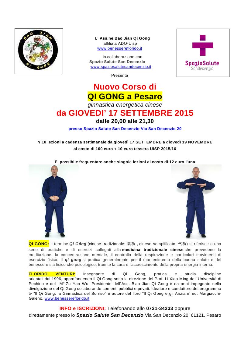 Nuovo Corso Di Qi Gong Ginnastica Energetica Cinese A Pesaro Ogni Giovedi Dal 17 Settembre Ore 20 00 21 30